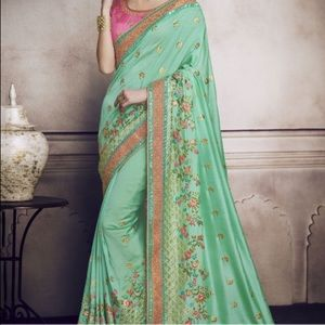 Pista green saree Indian and Pakistani
